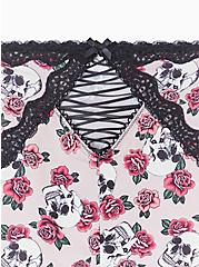 Plus Size Light Pink Skull Rose Microfiber Lattice Brief Panty, SKULL ROSE TATTOO BLACK, alternate