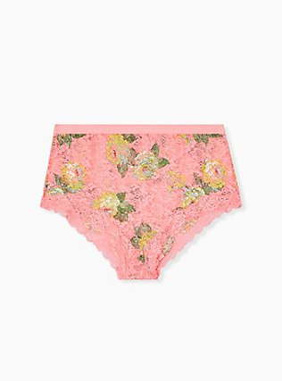 Coral Floral Lace High Waist Panty , SUMMER BLOOM, alternate