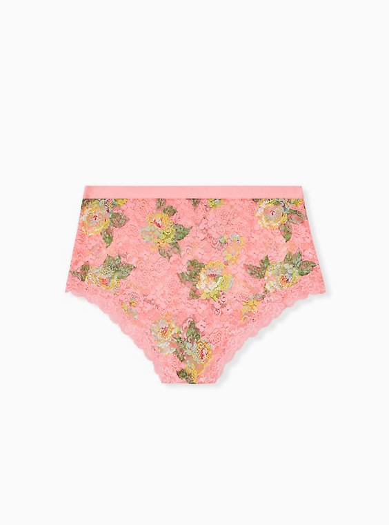 Plus Size Coral Floral Lace High Waist Panty , , hi-res