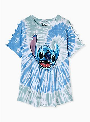 Plus Size Disney Lilo & Stitch Blue & Green Tie-Dye Cutout Crew Top, AQUA SEA, flat