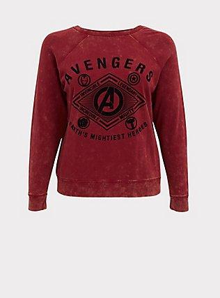 Plus Size Her Universe Marvel Avengers Red Mineral Wash Crew Sweatshirt , TIBETAN RED, flat