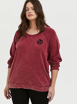 Plus Size Her Universe Marvel Avengers Red Mineral Wash Crew Sweatshirt , TIBETAN RED, hi-res