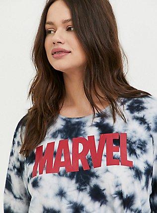 Plus Size Her Universe Marvel Logo Black Tie-Dye Knot Front Long Sleeve Top, GREY, alternate