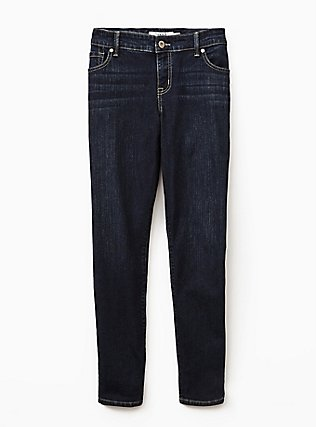 Plus Size Classic Straight Jean - Vintage Stretch Dark Wash , MOONLIT, flat