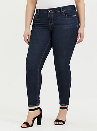 Plus Size Classic Straight Jean - Vintage Stretch Dark Wash , MOONLIT, hi-res