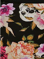 Plus Size Black Skull Floral Microfiber Lace Back Caged Hipster Panty, LOUD SKULL FLORAL, alternate