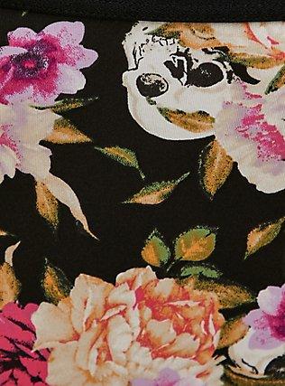 Black Skull Floral Microfiber Lace Back Caged Hipster Panty, LOUD SKULL FLORAL, alternate