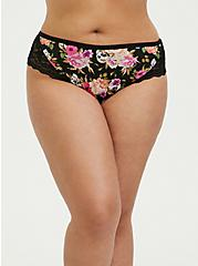 Black Skull Floral Microfiber Lace & Lattice Back Hipster Panty, LOUD SKULL FLORAL, alternate