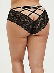 Plus Size Black Skull Floral Microfiber Lace Back Caged Hipster Panty, LOUD SKULL FLORAL, hi-res