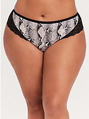 Black Snakeskin Print Microfiber & Lace Back Hipster Panty, ELECTRIC SNAKE, alternate