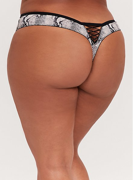 Plus Size Black & Grey Snakeskin Print Microfiber Lattice Thong Panty, ELECTRIC SNAKE, alternate