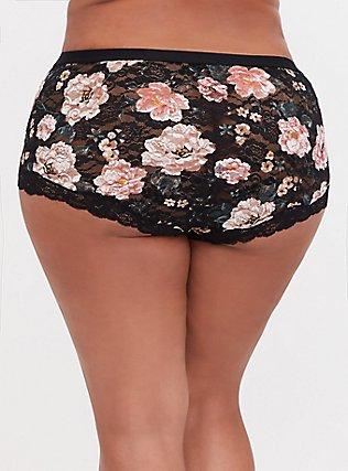 Black Floral Lace Brief Panty, TANGLED FLORAL, alternate