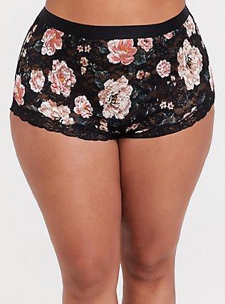 Black Floral Lace High Waist Panty, TANGLED FLORAL, hi-res