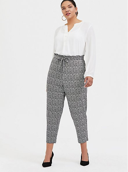 Plus Size Black & White Herringbone Ponte Paperbag Waist Tapered Pant, PLAID - GREY, alternate