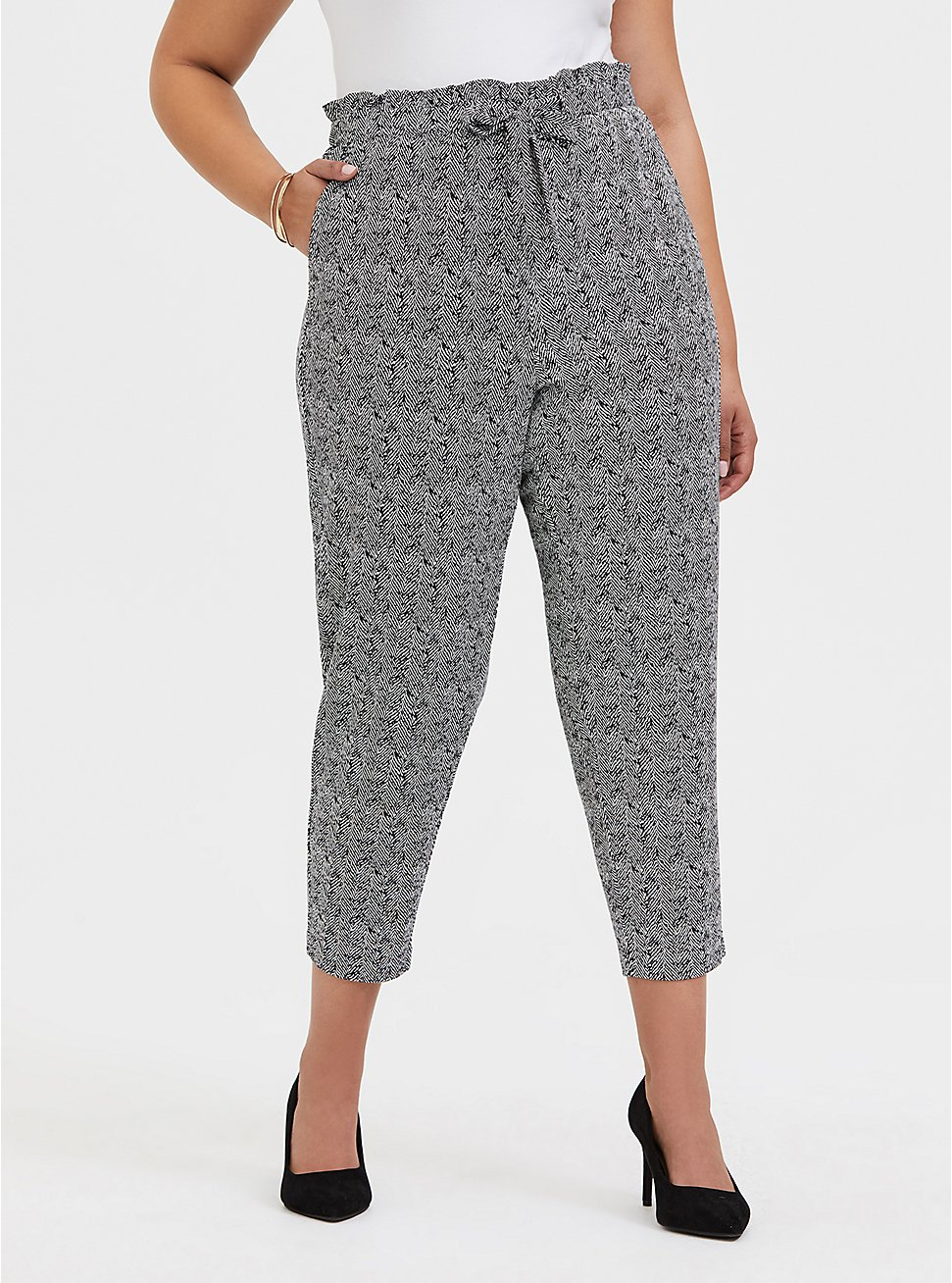 Plus Size Black & White Herringbone Ponte Paperbag Waist Tapered Pant, PLAID - GREY, hi-res