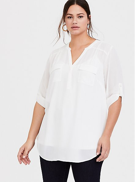 Harper - Ivory Georgette Pullover Tunic Blouse, WHITE, hi-res