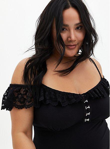 Black Lace Trim Cold Shoulder Bodysuit, RICH BLACK, alternate