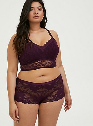 Plus Size Grape Purple Lace Lightly Padded Bralette, POTENT PURPLE, alternate