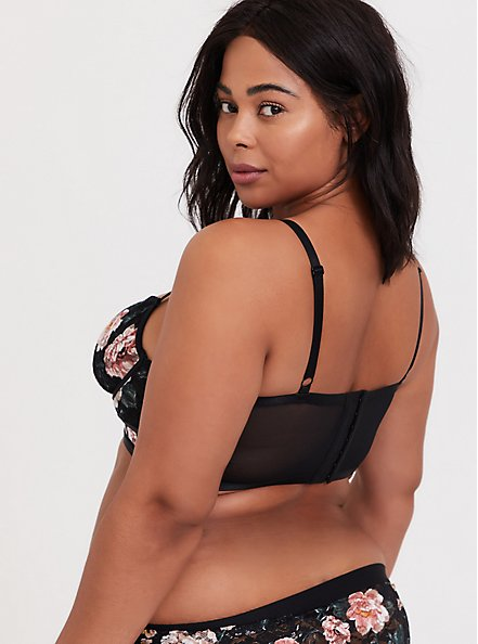 Plus Size Black Floral Lace Strappy Unlined Longline Underwire Bralette, TANGLED FLORAL, alternate