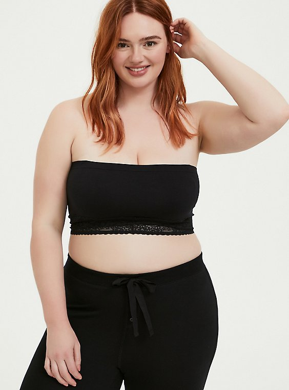 Plus Size Black Seamless Lightly Padded Bandeau, , hi-res