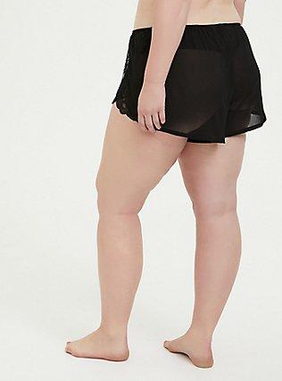 Plus Size Black Chiffon & Lace Trim Sleep Short, RICH BLACK, alternate