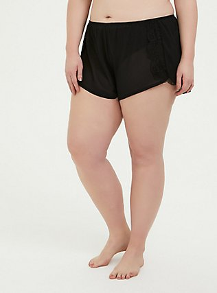 Plus Size Black Chiffon & Lace Trim Sleep Short, RICH BLACK, hi-res