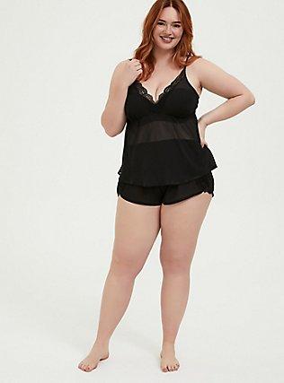 Plus Size Black Chiffon & Lace Trim Sleep Cami, RICH BLACK, alternate