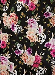 Black Skull Floral Satin Babydoll, LOUD SKULL FLORAL, alternate