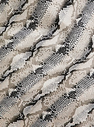 Black & Grey Snakeskin Print Satin Babydoll, SNAKE - BROWN, alternate