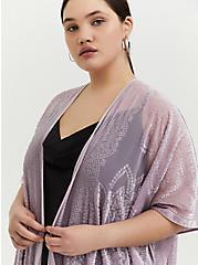 Mauve Pink Floral Burnout Velvet Fringe Kimono, MAUVE SHADOWS, alternate