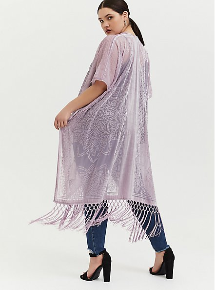 Plus Size Mauve Pink Floral Burnout Velvet Fringe Kimono, MAUVE SHADOWS, alternate