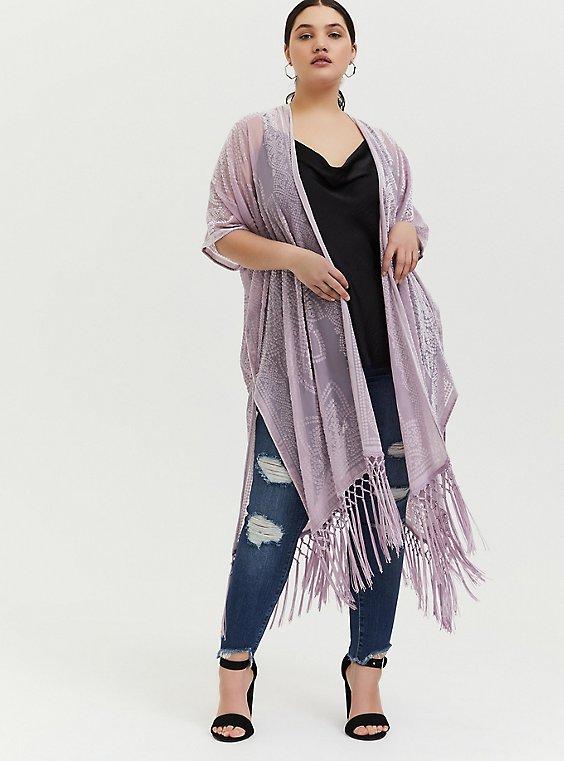 Plus Size Mauve Pink Floral Burnout Velvet Fringe Kimono, , hi-res