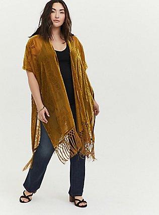 Mustard Yellow Floral Burnout Velvet Fringe Kimono, YELLOW, alternate