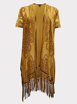 Mustard Yellow Floral Burnout Velvet Fringe Kimono, YELLOW, flat