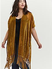 Mustard Yellow Floral Burnout Velvet Fringe Kimono, YELLOW, hi-res