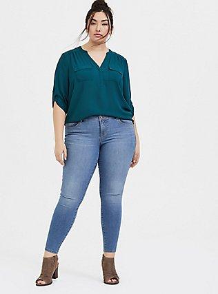 Harper - Dark Teal Georgette Pullover Tunic Blouse, DEEP TEAL, alternate