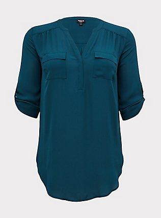 Harper - Dark Teal Georgette Pullover Tunic Blouse, DEEP TEAL, flat
