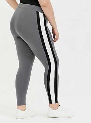 Premium Legging - Light Grey Wide Stripe, GREY, alternate