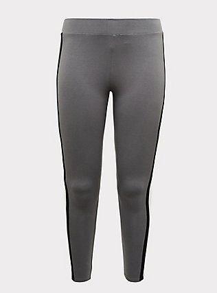 Premium Legging - Light Grey Wide Stripe, GREY, flat