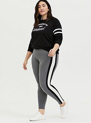 Premium Legging - Light Grey Wide Stripe, GREY, hi-res