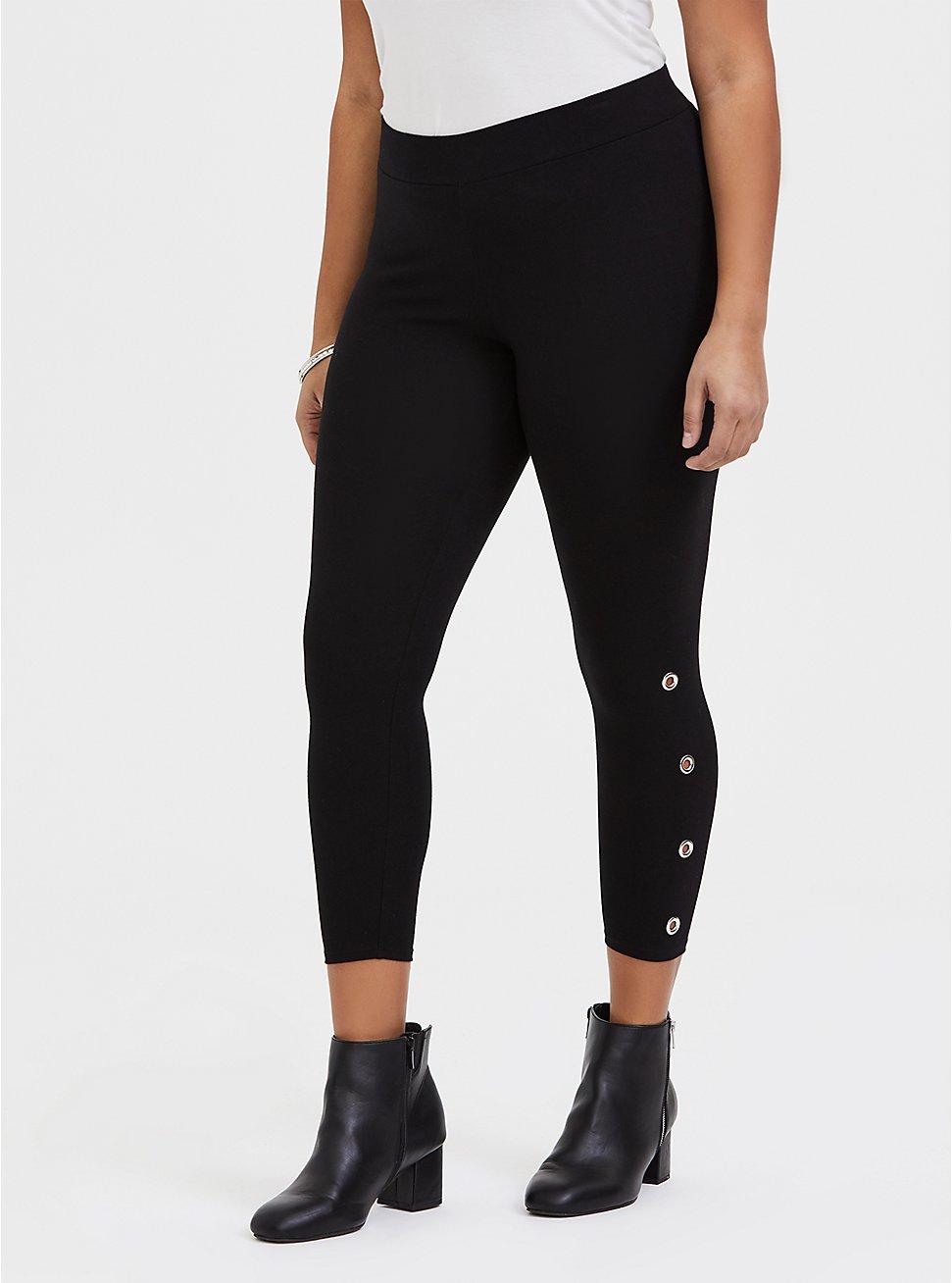 Crop Premium Legging - Grommets Black, BLACK, hi-res