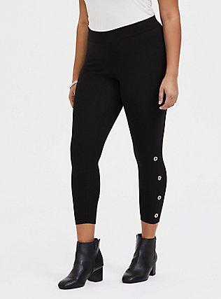 Crop Premium Legging - Black & Silver-Tone Grommet, BLACK, hi-res