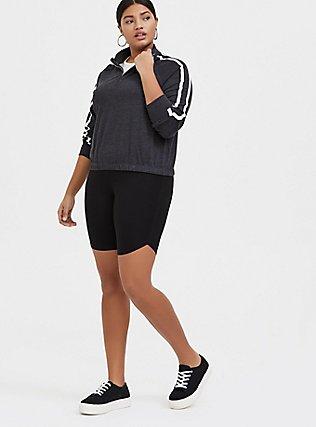 Plus Size Black Dolphin Hem Bike Short, BLACK, alternate