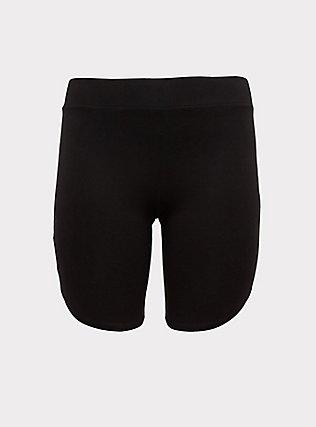 Plus Size Black Dolphin Hem Bike Short, BLACK, flat