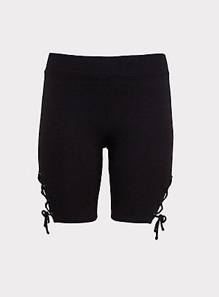 Black Lace-Up Bike Short, BLACK, flat