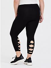 Crop Premium Legging - Elastic Lattice Black, BLACK, alternate