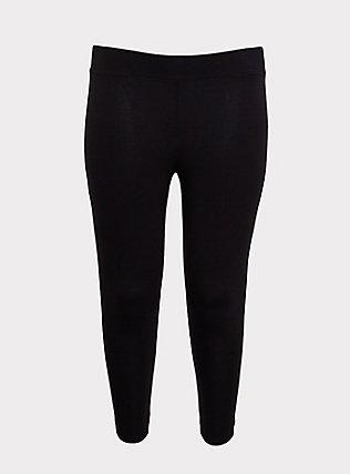 Crop Premium Legging - Elastic Lattice Black, BLACK, flat