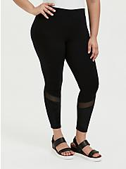 Crop Premium Legging - Mesh & Rib Velvet Inset Black, BLACK, alternate