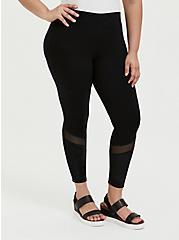 Plus Size Crop Premium Legging - Mesh & Rib Velvet Inset Black, BLACK, alternate