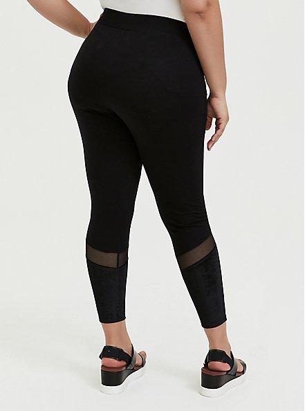 Crop Premium Legging - Mesh & Rib Velvet Inset Black, BLACK, alternate